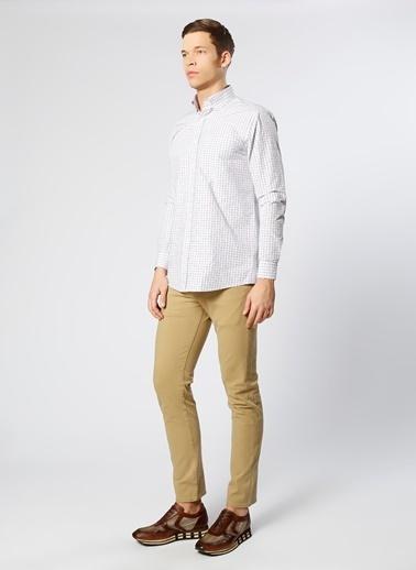 Cotton Bar Kareli Uzun Kollu Gömlek Beyaz